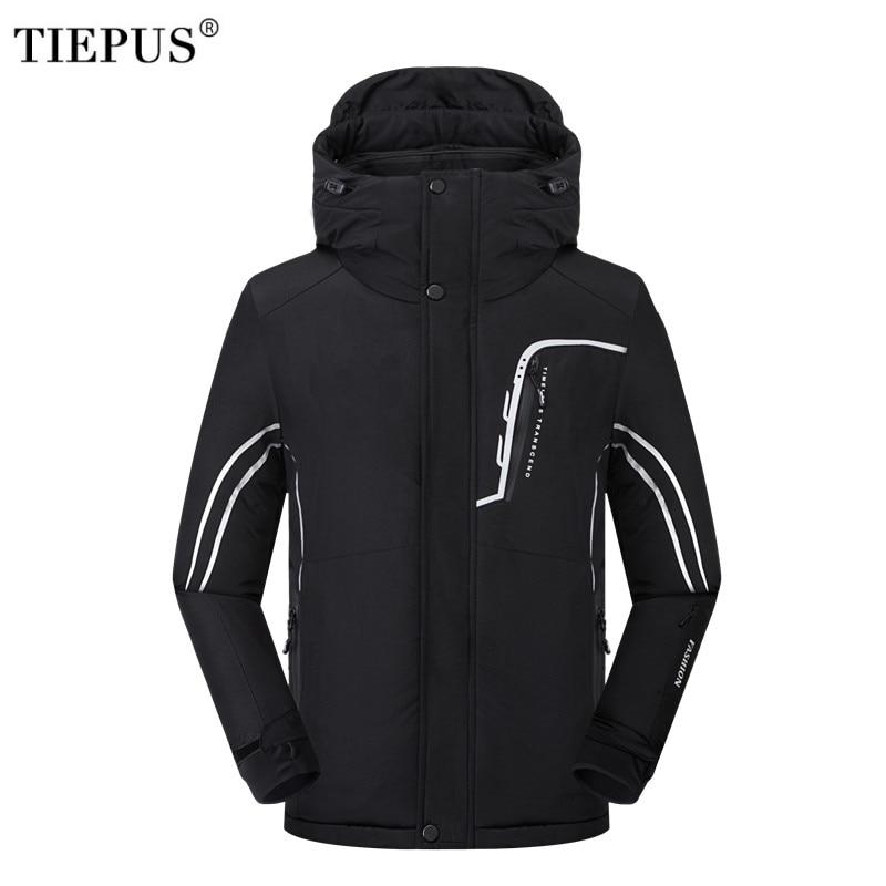 TIEPUS Winter Jacket Men Thick Warm   Parka   Coat Casual Hooded Fleece Fur Windproof Waterproof Jackets Windbreaker Men SIZE L~5XL