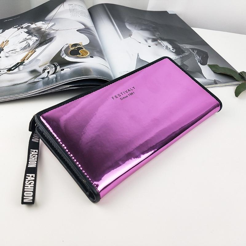 HUBOONE Laser Wallet Women Lanyard Purse Card Holder Female Long Clutch Women Holographic Wallets Portfel Phone Pocket Carteira