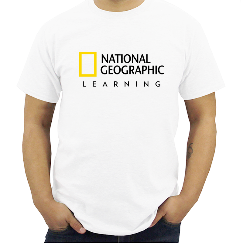 New National Geographic Logo Short Sleeve Men's WhiteT-Shirt Men Modal T-shirts Summer Brand Tshirt Streetwear  Plus Size