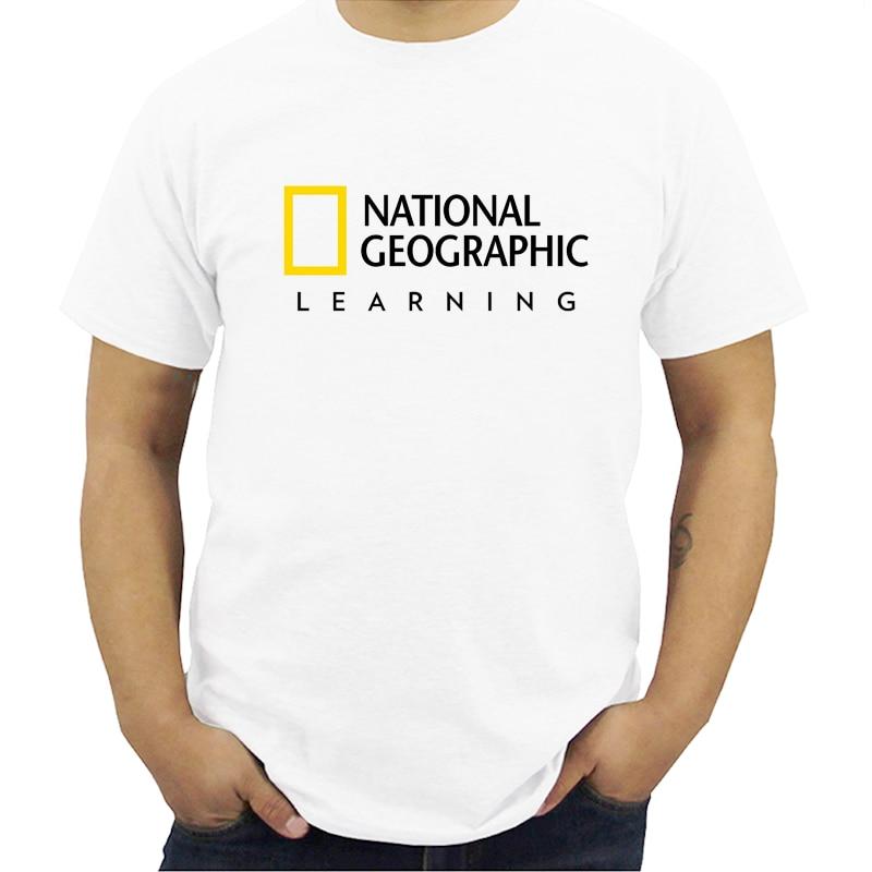 New National Geographic Logo Short Sleeve Men's WhiteT-Shirt Men Modal T-shirts Summer Brand Tshirt Streetwear  Plus Size