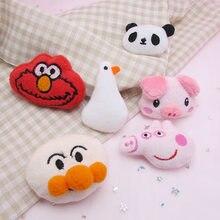 10 pçs/lote dos desenhos animados de pelúcia pato applique artesanato para crianças meias e luvas accessorie