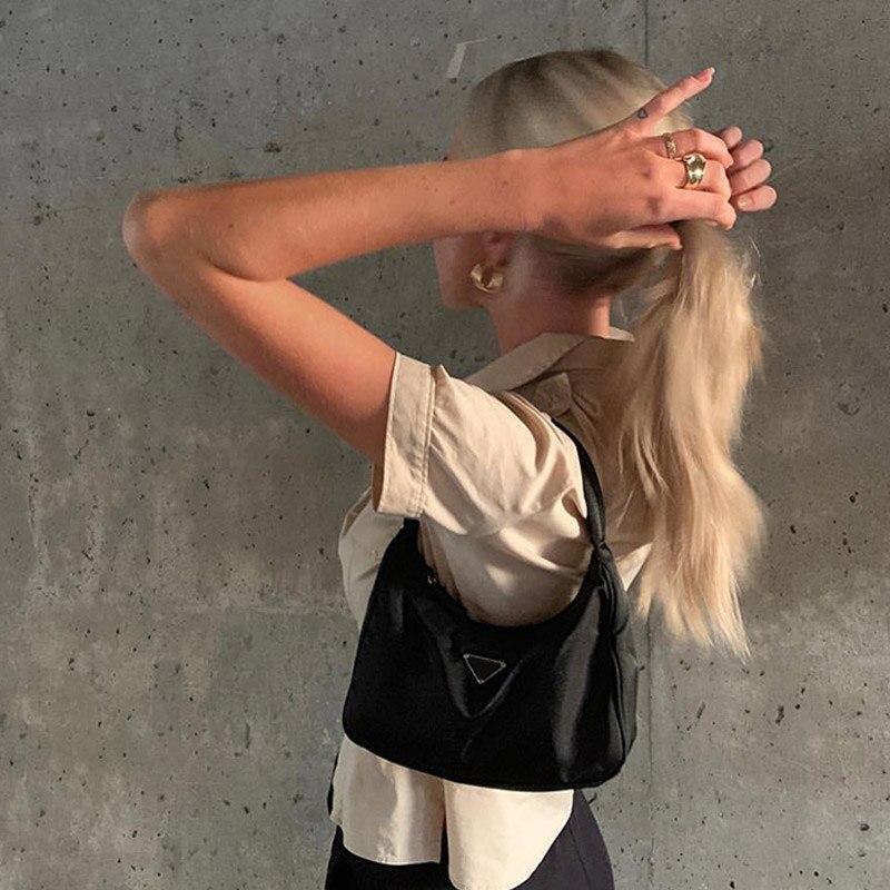 Vintage Hobe Nylon Small Shoulder Bag Luxury Brand Subaxillary Bags Female Retro Handbag  Phone Pouch  A235