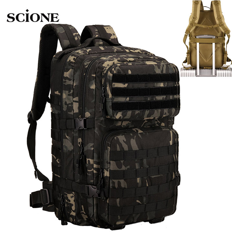 45L Camping Military Backpack Men Travel Tactical Bag Camouflage Hiking Climbing Rucksack Army Bags Molle Outdoor Sports XA942WA