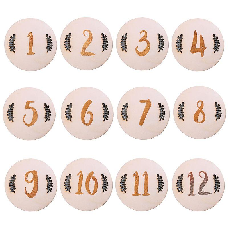 Newborn Baby Birth Month Record Wood Card Memorial Milestone Cards X5XE