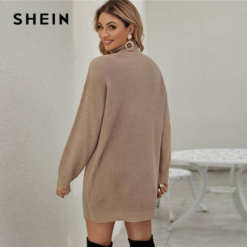 SHEIN Khaki Drop Shoulder Turtleneck Sweater Dress Without Belt Women Winter Short Straight Casual Loose Dresses 2