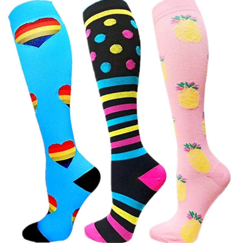 Men Women Compression Socks Fit For Golf Rugby Sports For Anti Fatigue Pain Relief Knee Stockings Travel Socks Crossfit Socks