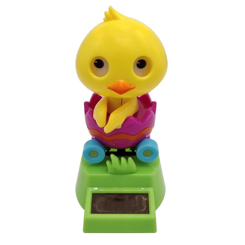 Solar Power Dancing Yellow Duck in Car Swing Figure Statue Animal Model Figurine Toy Kid Xmas Gift Home Desk Decor