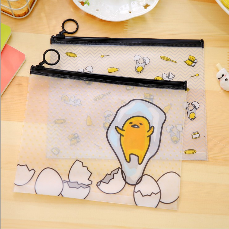 South Korean Stationery Creative Cute Cartoon Transparent Egg File Pocket Zipper Office School Supply Gifts For Promotion