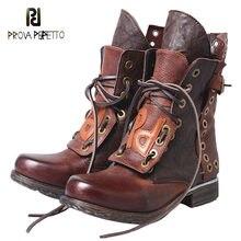 Beaufitel couro botas de salto plano europeu americano moda cor velha correspondência laço-up rebite casual neutro botas curtas