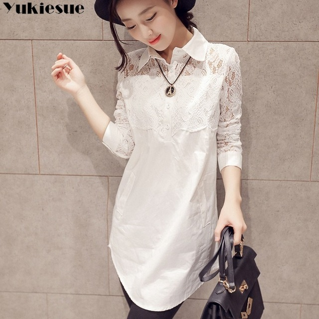 Casual Loose Women Shirts 2020 Spring New Fashion Plus Size Blouse Long Sleeve lace Buttons White Shirt Women Tops Streetwear 1