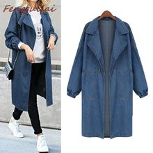 Women Coat Autumn Winter Korean Denim Jacket Women Loose Long Coat Women's  Blue Plus Size Jeans Jackets Coats Cool 3XL