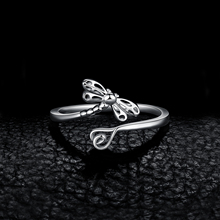 Cubic Zirconia Paved Dragonfly Sterling Silver Ring Jewelry