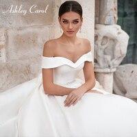 Ashley Carol Soft Satin Wedding Dresses 2020 Sexy Sweetheart Cap Sleeve Lace Up Button Sashes Bride Dress Princess Wedding Gowns