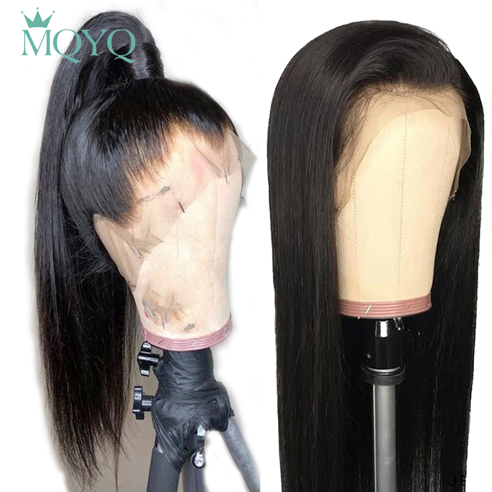 MQYQ Human Hair Wig Brazilian Non-Remy 13*4 Lace Frontal Human Hair Wigs Straight With Baby Hair Lace Frontal Human Hair Wig