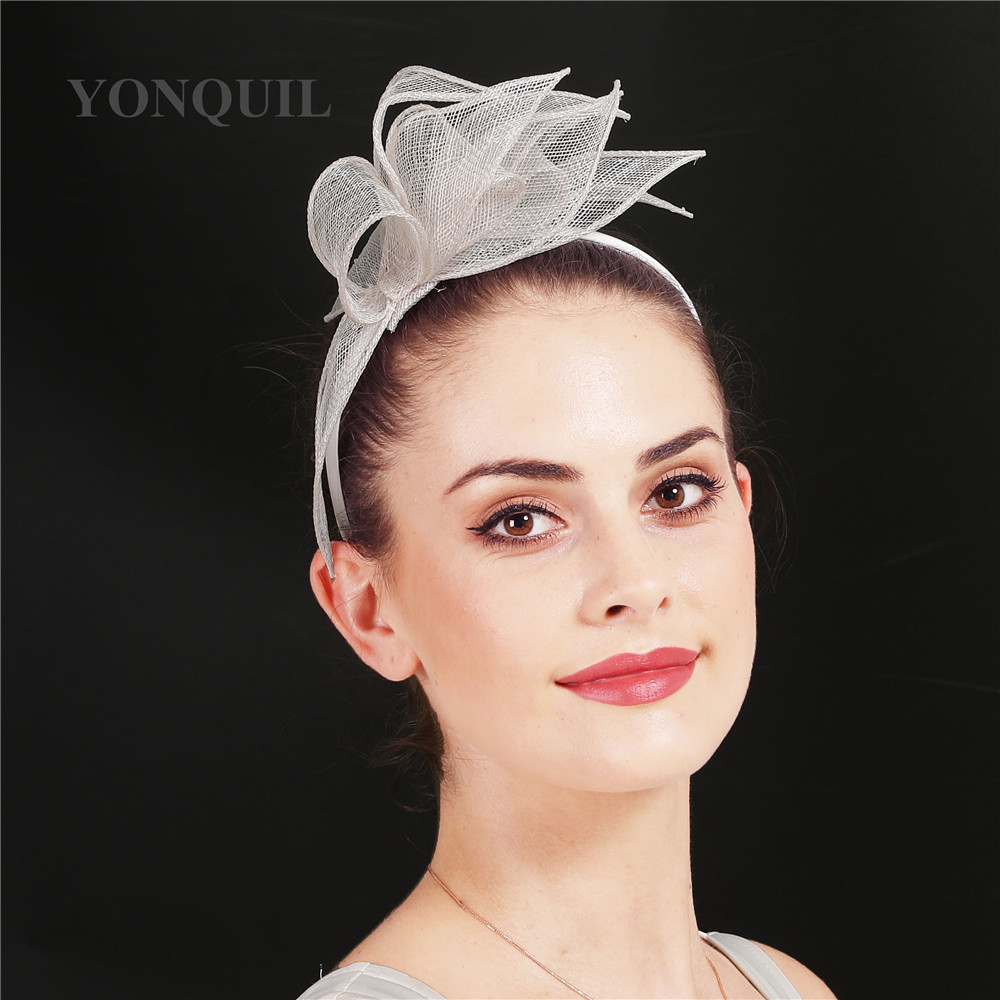 Charming Headdress Millinery Hat Wedding Fascinator Hat With Clips Women Sinamay Flower Fancy Feather Decor On Hair Bands SYF708