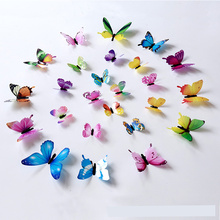 12pcs/bag Simulated Butterfly 3D Wall Stickers Transparent and realistic Home Decor decoration