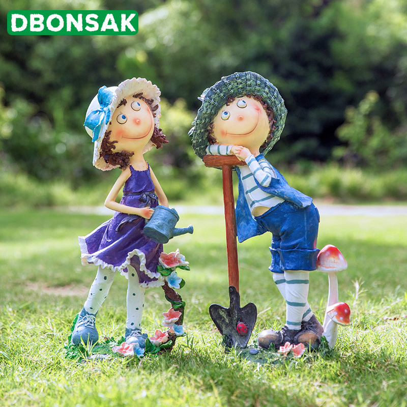 Outdoor Cartoon Character Sculpture Decoration Kindergarten Child Sculpture Couple Ornaments Garden Landscape Villa Decoration
