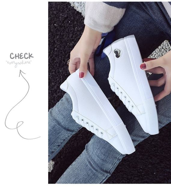 2019 Autumn Woman Shoes Fashion New Woman PU Leather Shoes Ladies Breathable Cute Heart Flats Casual Shoes White Sneakers 15