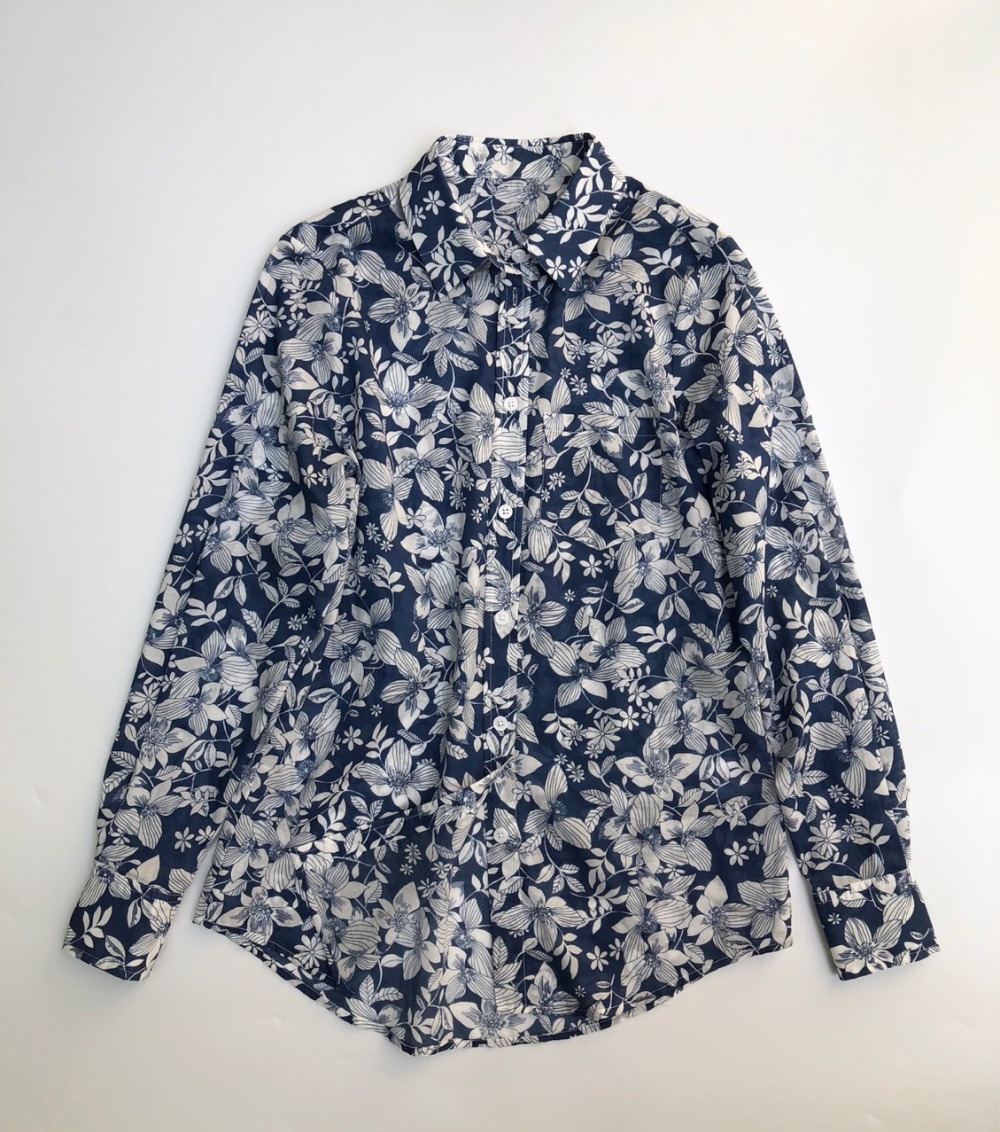 New Autumn Blue Floral Women shirt vintage ladies Blouses and topa long sleeve shirt top casual with buttons