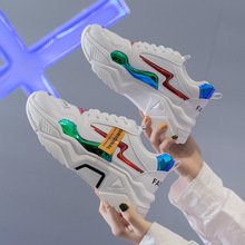2020 Women Platform Chunky Sneakers 5cm high lace-up Casual Vulcanize Shoes luxury Designer Old Dad female fashion Sneakers f80 new women platform chunky sneakers lace up casual vulcanize shoes designer dad female fashion sneakers 2019 women shoes