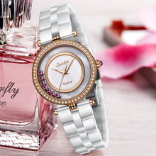 SUNKTA luxury hollow women watch fashion Quartz ceramic white gold bracelet women watches Waterproof Relojes Mujer Montre Femme