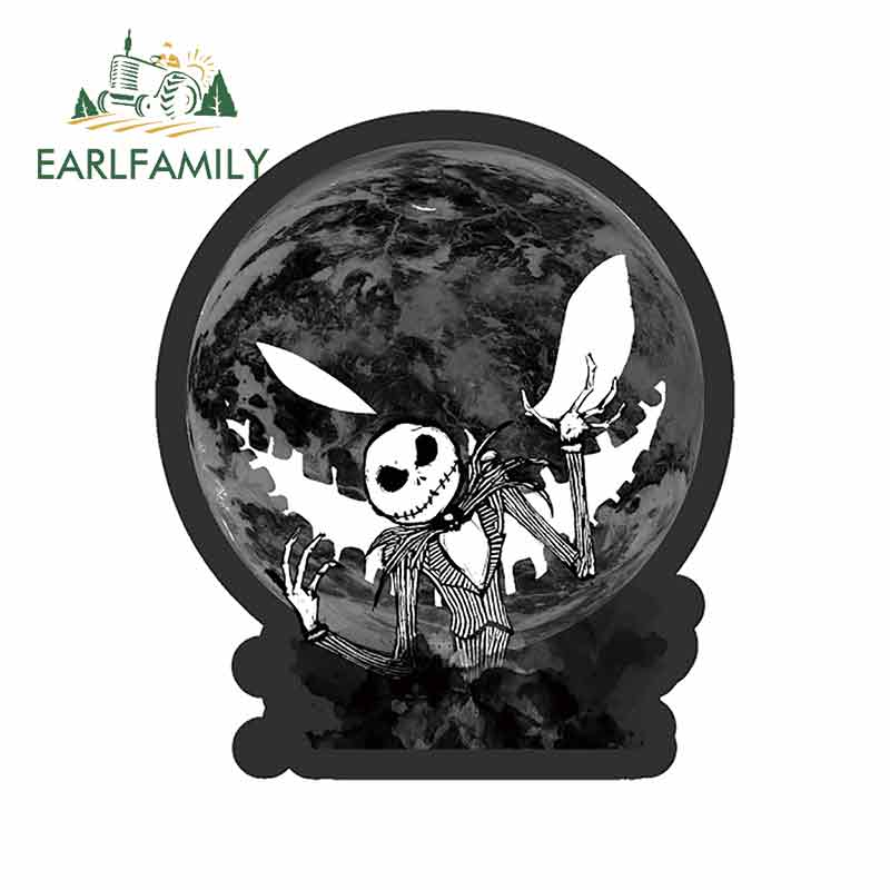 EARLFAMILY 13cm x 11.1cm Funny Nightmare Before Christmas Graphics Car Stickers and Decals Vinyl Waterproof Car Decal