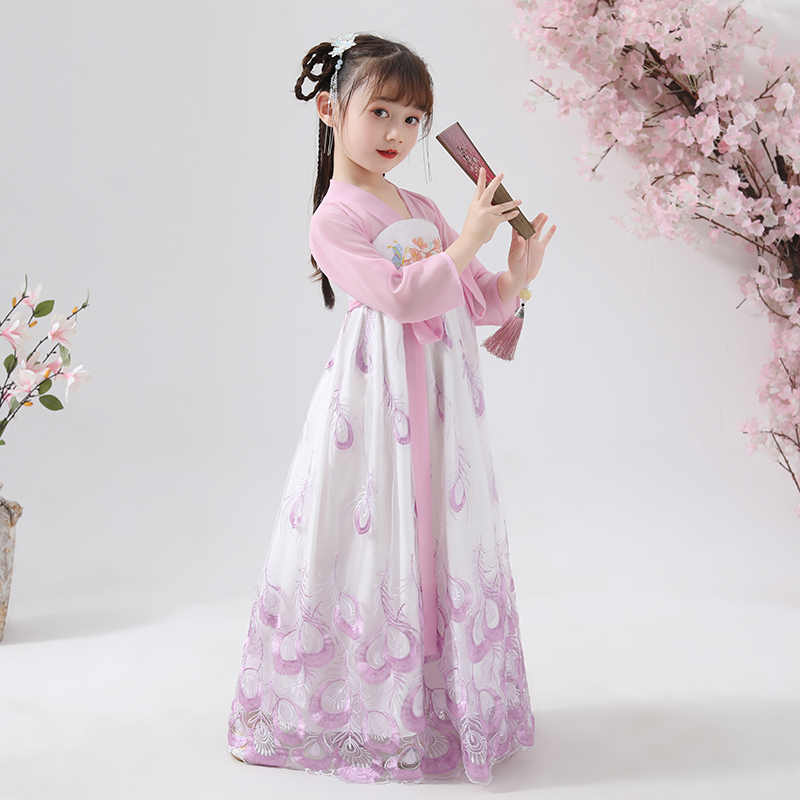 Chinese Style Embroidery Han Fu Princess Birthday Party Dance Perform Dress Traditional Wedding Evening Dress for Girls