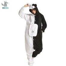 HKSNG Adulto Kigurumi Orso Animale Pigiama Nero Bianco Orso Monokuma Tute Monopezzo Costume di Cosplay Del Partito Tute E Tute Da Palestra Di Natale