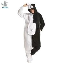 HKSNGผู้ใหญ่Kigurumiหมีชุดนอนสัตว์สีดำสีขาวหมีMonokuma Onesies Cosplayเครื่องแต่งกายParty Jumpsuitsคริสต์มาส