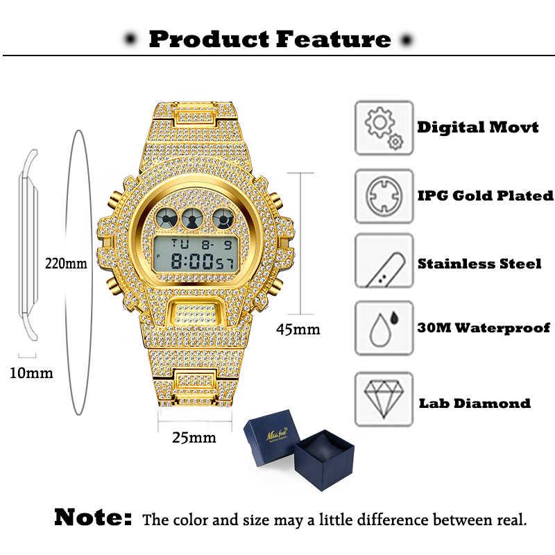 MISSFOX متعددة الوظائف G نمط صدمة الرقمية ساعات رجالي العلامة التجارية الفاخرة أفضل LED 18K ساعة ذهبية الرجال الهيب هوب الذكور مثلج خارج الساعات