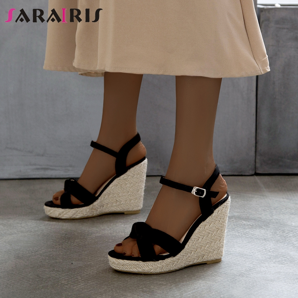 SARAIRIS Sweet Date Sandals Trendy Summer Hot Sale Super High Wedges Sandals Women Fashion Party Platform Shoes Woman