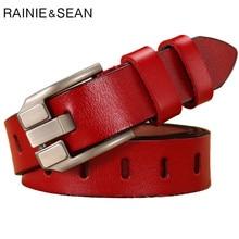Raenie SEAN czerwony pasek damski ze sprzączką pasy z prawdziwej skóry do dżinsów skóra naturalna Cowskin wysokiej jakości solidny pasek damski 110cm