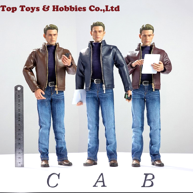 CEN-M10 1/6 Man Agent Model Accessories Black Leather Jacket & Blue Jeans Clothes Set For 12