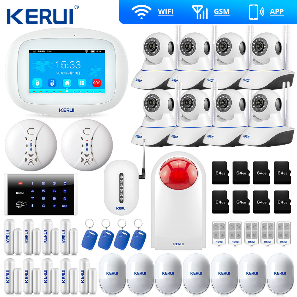 KERUI Touch Screen 7 Inch TFT Color Display WIFI  GSM Alarm System Home Alarm Security Dual Antenna Wifi Camera IP Burglar Alarm