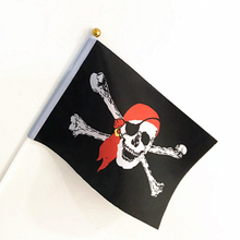 Bandera Pirata Calavera Roger pirata Calicó bandera Roger calavera bandera poliéster Banne 14x21cm alta calidad