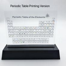 Drukowanie wersji akrylowe elementy chemiczne wyświetlacz biurka okresowy wystrój stołu elementy oprawione dla studentów nauczyciele zestaw do pakowania prezentów tanie tanio Chemicznego