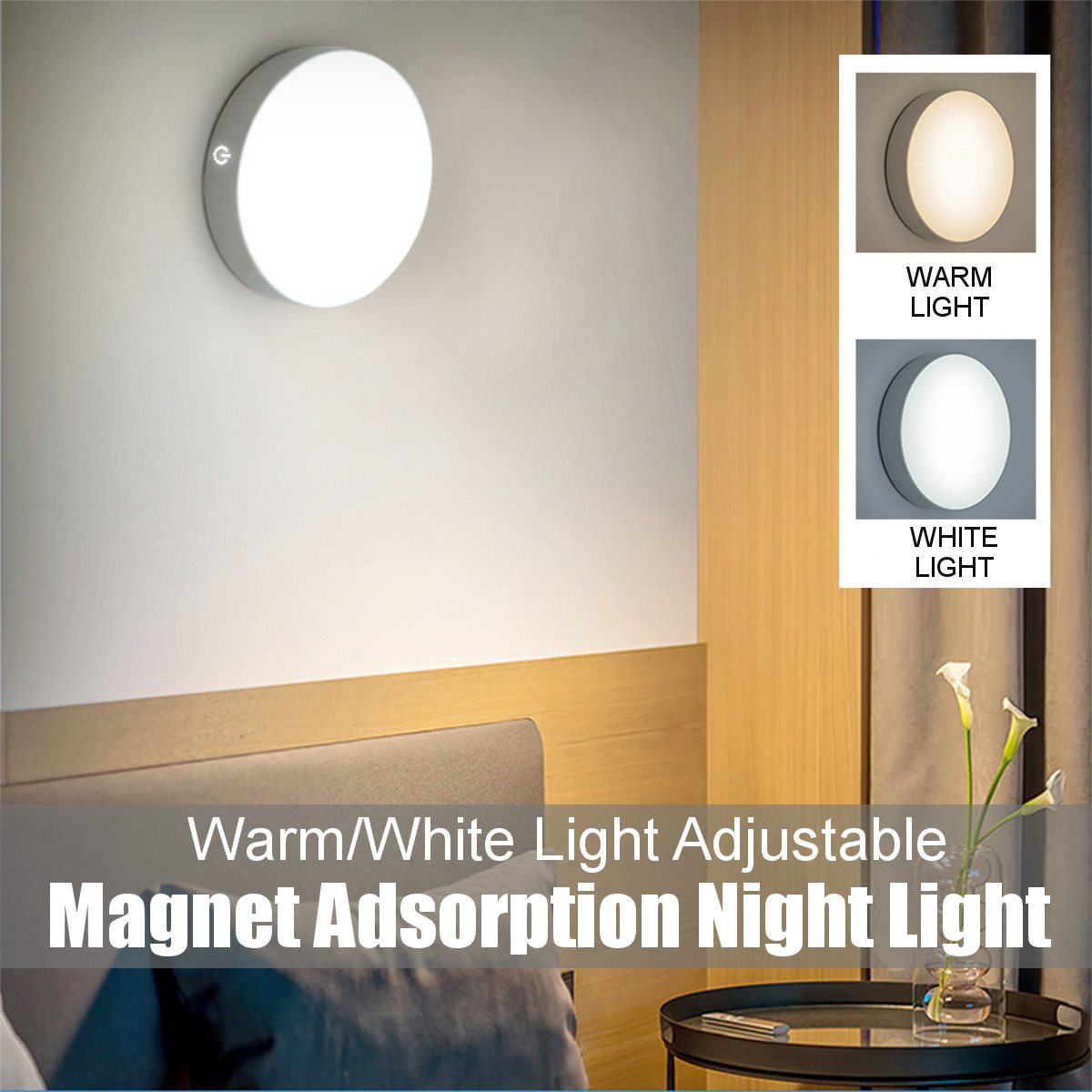 Dimmable LED Wall Night Light Touch Switch Magnetic Safety Lamp Home Cupboard Bedroom Bedside Indoor Lighting USB Charging