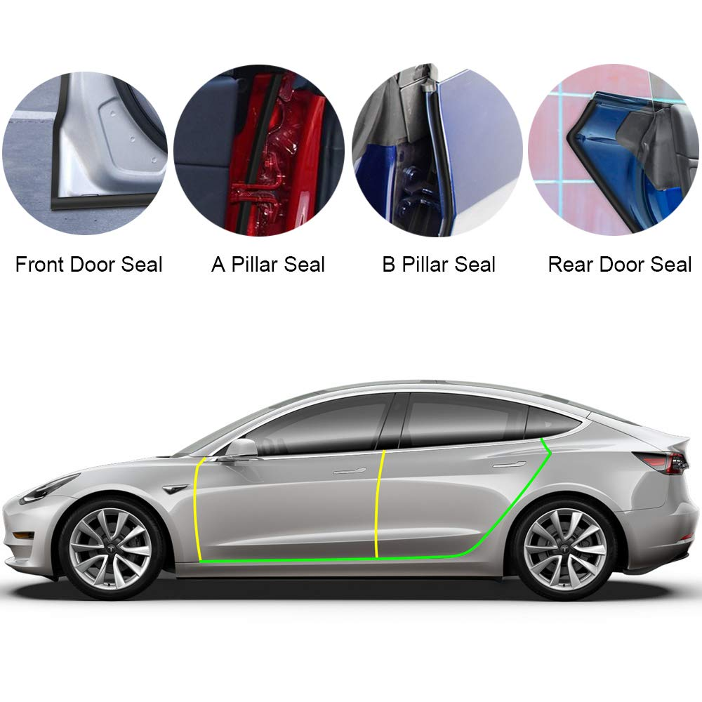 Door-Seal-Kit Rubber Tesla Noise-Reduction Wind Soundproof Model-3 for Model-3/Soundproof/Wind/..