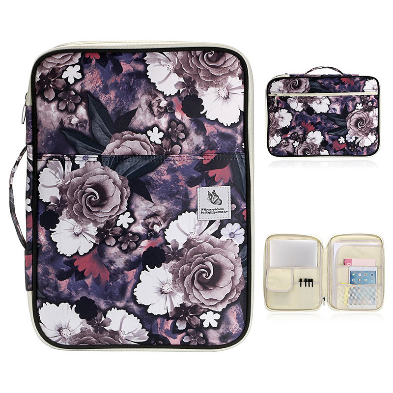Portable A4 Waterproof Nylon Flower Document Bag Organizer Portfolio Filing Holder Office Book Folder Ipad Stationery Storage