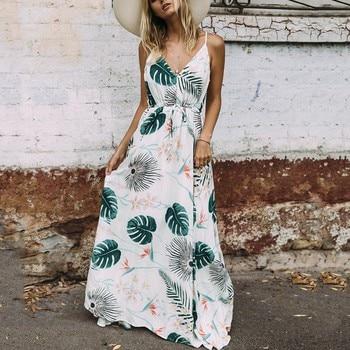 Sleeveless Women's Maternity Dresses with Leaf Print 1