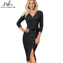 Nice forever Elegant Vintage Solid Color split Wear to Work with belt vestidos Business Party Bodycon Women Office Dress B464
