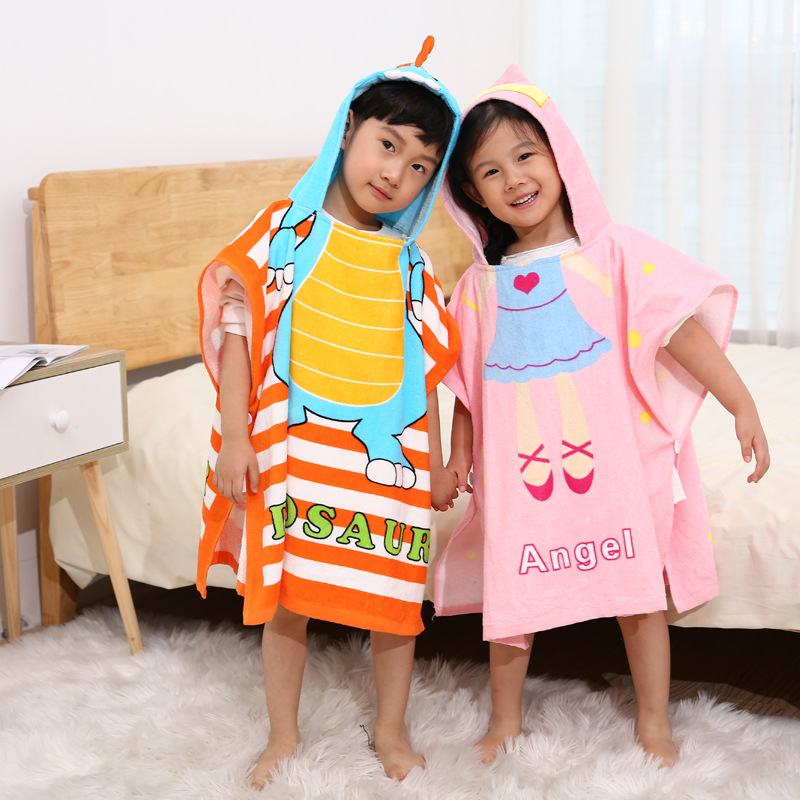 CHILDREN'S Bathrobes 100% Cotton Bath Towel Toweling Men And Women Child Baby Bathrobe Even Hooded Cloak Mantle Beach Towel Pull