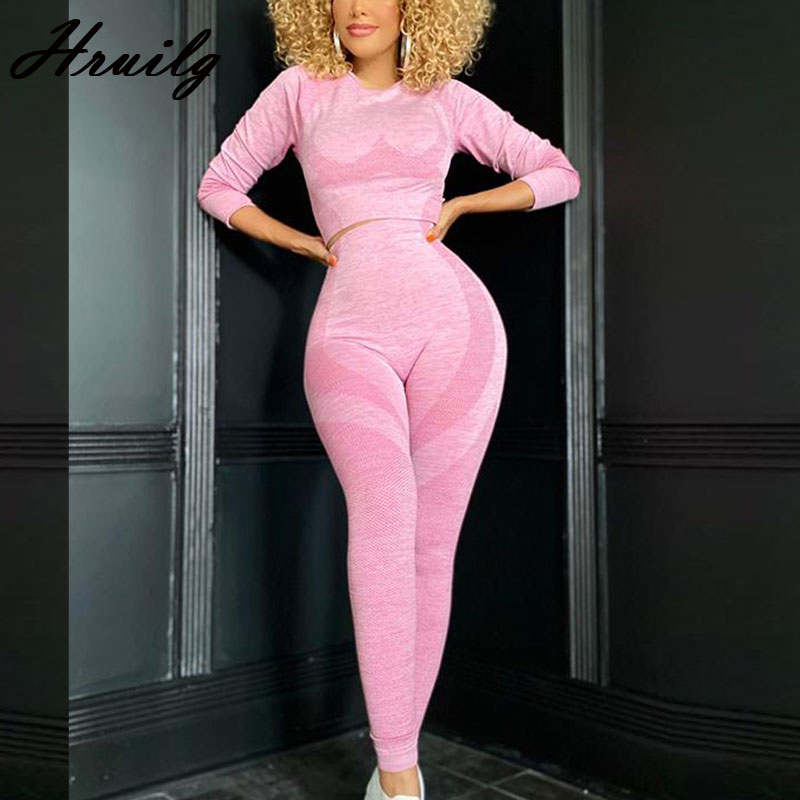 Women Set Print Long Sleeve O Neck Tops&long Pants Slim Trendy Clothes for Women Plus Size Sport Fitness Matching Sets Casual