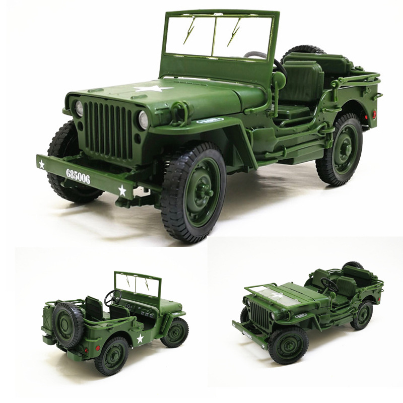 <font><b>1:18</b></font> Tactical Military <font><b>Model</b></font> Jeeps Old World War II Willis Military Vehicles Alloy <font><b>Car</b></font> <font><b>Model</b></font> For Kids Toys Gifts Free Shipping image