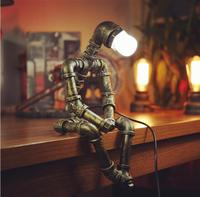 Cross border dedicated to American style personalized iron pipe industry loft retro coffee bar water pipe robot lamp