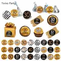 Twins Party 216pcs 30th 40th 50th Adults Aged Anniversary Birthday Sticker Labels Adult Gold Black birthday 30 40 Year Birthday