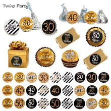 Twins Party 216pcs 30th 40th 50th Adults Aged Anniversary Birthday Sticker Labels Adult Gold Black birthday 30 40 Year