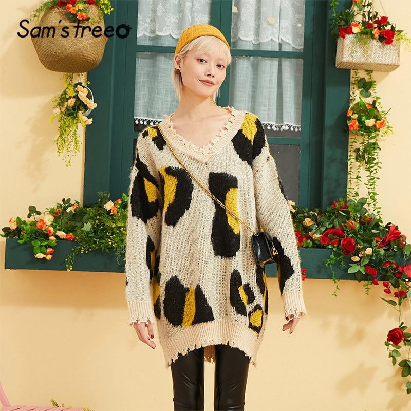 Samstree Leopard Print Casual Loose Sweater Women Clothing 2019 Autumn Korean Oversize Leisure Office Ladies Sweaters