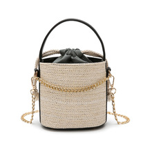 luxury handbags Straw bag woman, 2019 new beach hand-held, bucket shaped woman one shoulder diagonal straddle