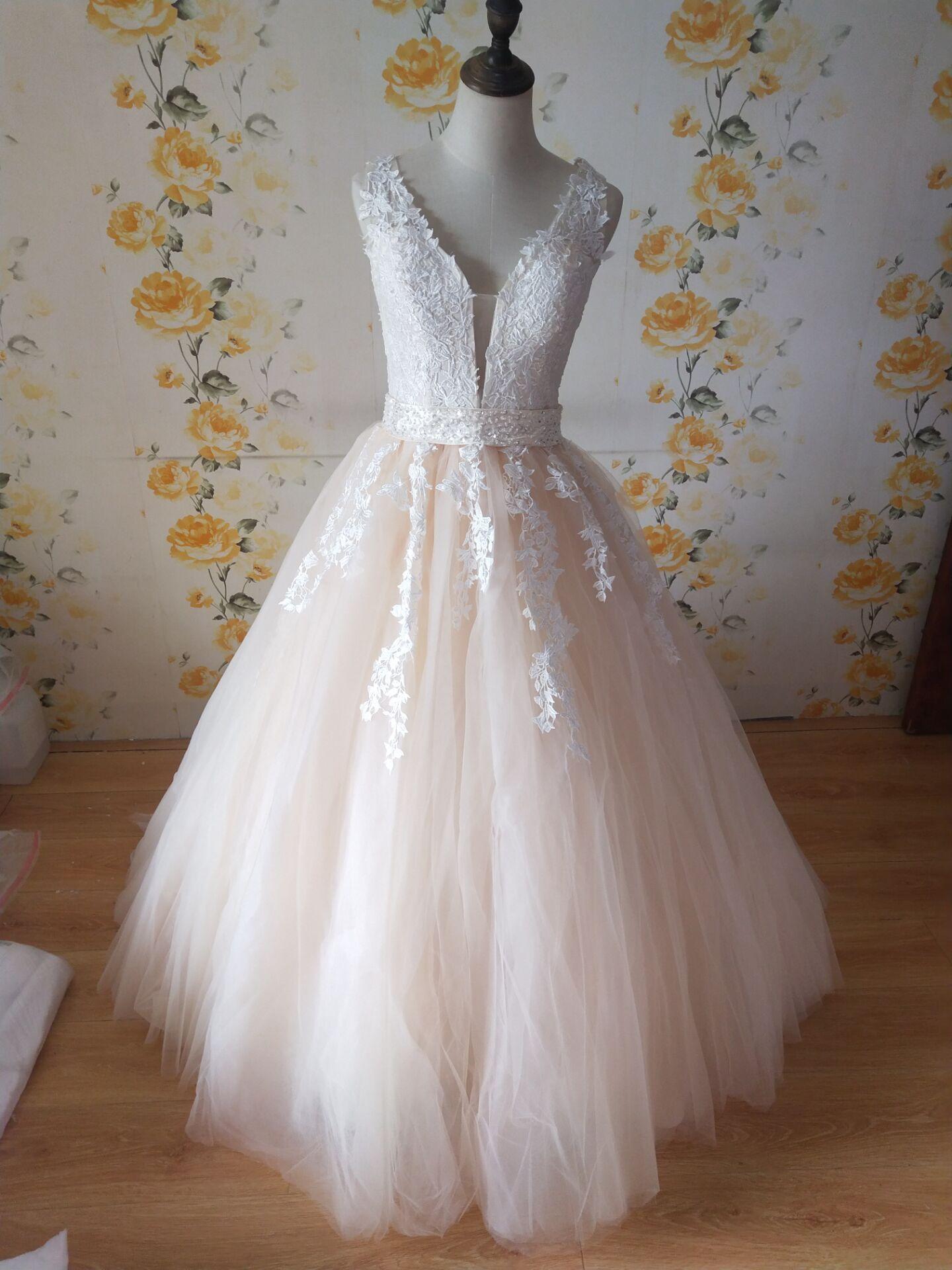 ZJ9149 2019 White Ivory Wedding Dress Custom-made Plus Size Bridal Tulle Mariage Deep V Neck Open Back